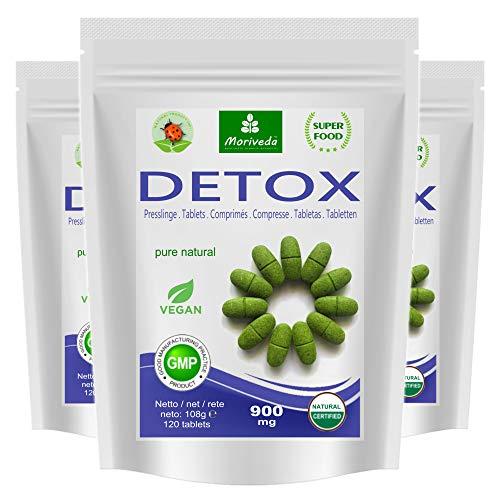 MoriVeda® - Moringa Detox 900mg Tabletten – 360 oder 120 Stück – Moringa, Gerstengras, Leinsamen und Spirulina zur Entgiftung des Körpers (3x120 Tabletten)