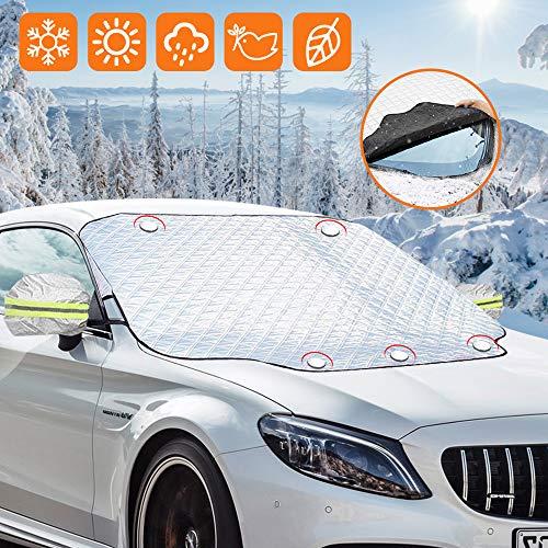 synmixx Scheibenabdeckung Frontscheibenabdeckung Auto Windschutzscheibe Abdeckung mit Magnet Fixierung Frontscheibe Abnehmbare Frostabdeckung Anti Schnee, Frost, Staub, Sonne (186 * 120cm)