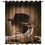 Thermal Insulated Blackout Curtains Western Farmhouse Rustic Cowboy Leather Boots Hat 1 Panel 52 Wide Window Treatments/Drape Room Darkening for Bedroom, Living Room 52x84inch