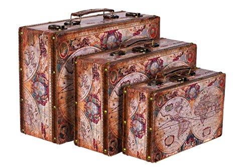 Truhe Kiste KD 1288 Koffer, Kofferset, Holztruhe Vintage Schatzkiste Set Größe M + L + XL