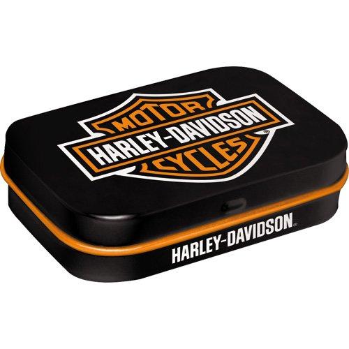 Nostalgic-Art 40361138118Caja mentine Harley-Davidson Logo, Acero, Negro