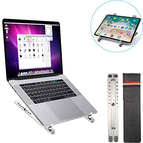 ノートパソコンスタンド pcスタンド 折り畳み式 ラップトップスタンド アルミ合金製 8段の高さ調節可能 PCホルダー 軽量 持ち運びに便利 優れた放熱性 姿勢猫背改善 22KG荷重 14~17.3インチに対応 PC/MacBook Air/MacBook Pro/ラップトップ/iPad/kindle/タブレットに適用 銀色