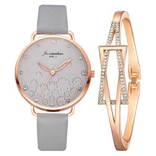 JZDH Relojes para Mujer Moda Mujeres Hombres Banda de Cuero Cuarzo Reloj de Pulsera analógica Moda Negro Blanco Dorregas Damas Unisex Relojes Relojes Decorativos Casuales para Niñas Damas