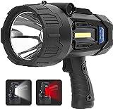Rechargeable LED Spotlights Flashlights High Lumens, 4400 mAh 20h Ultra-Long Standby, Searchlights Handheld Spotlights Flashlights for Boating(Black)
