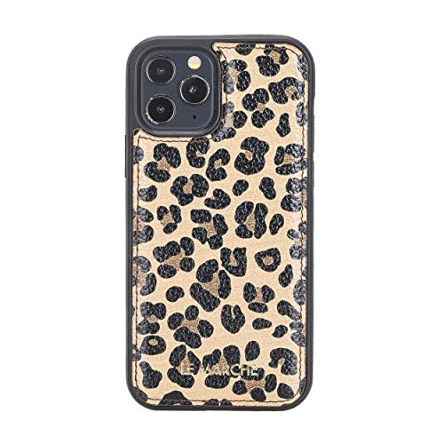 """Leather Snap on Case Compatible With iPhone 12 Pro Max (6.7""""), Slim Protective Case Compatible with Apple MagSafe iPhone 12 Pro Max Case, Hard Back Cases support wireless charging, Best Gift (leopard)"""