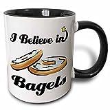 3dRose I Believe In Bagels Two Tone Mug, 11 oz, Black/White