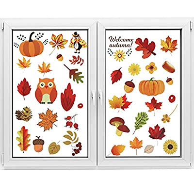 Olgaa 72 PCS Thanksgiving Fall Autumn Leaves Window Clings Turkey Maple Acorns Window Sticker for Thanksgiving Party Decorations