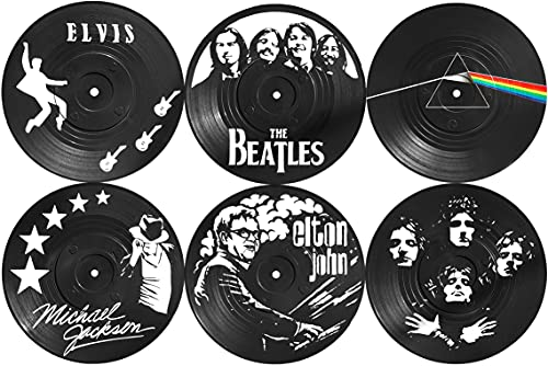 OUR CASA Coasters for Drinks - Vinyl Record Drink Coaster Set of 6 Coasters for Wooden Table, 4 Inches - Vinyl Coasters Retro Room Decor - Perfect Music Lovers Gifts for Housewarming