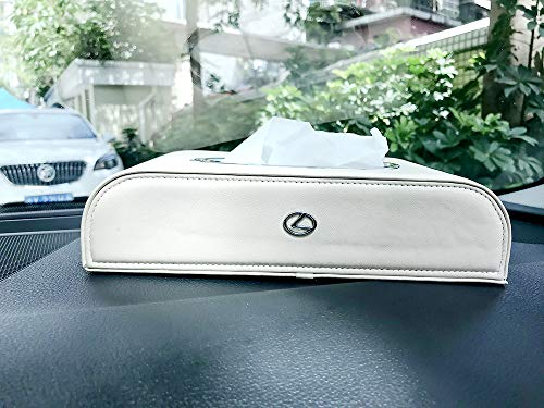 HUBUISH for Lexus is300 es350 rx 350 ls460 gx460 ls 430 ls 460 nx f nx200t RCF Valet is250 rx350 Series car Logo PU Leather Tissue Box, Napkin Holder, armrest and Back seat Tissue Box(Beige)