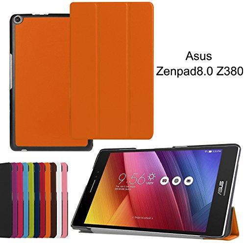 Asng Schutzhülle für Asus ZenPad 8.0 Z380M, ultra dünn, leicht, Standfunktion, für Asus ZenPad 8.0 Z380M, Z380C, Z380CX, Z380KL 20,3 cm Tablet Orange Orange