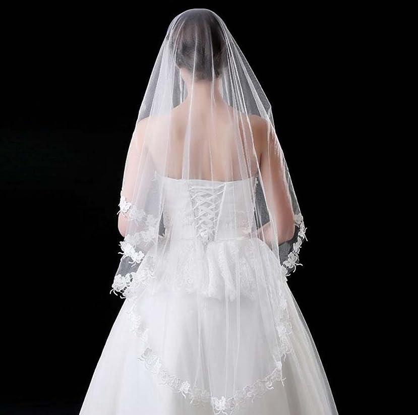 シンプトン低い同様のシンプルなスタイルのウェディングベールと刺繍裾のブライダルアクセサリー