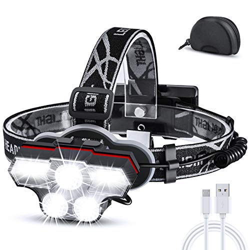 Cobiz Headlamp, USB Rechargeable LED Head Lamp, 27 LED Ultra Bright Head Flashlight + Red Light. 6 Modes HeadLamps Headlight for Adults, Outdoors Camping Running Fishing, Black