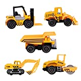 VILLCASE 5 Piezas Mini Camión de Juguete Juego de Construcción de Vehículos de Ingeniería Tractor Excavadora Camión de Volteo Excavadora para Niños Juego de Cumpleaños