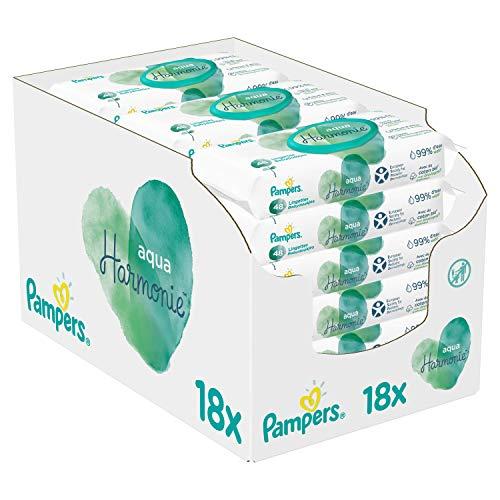 Pampers Lingettes Aqua Harmonie, Composée à 99% d'Eau Pure et Sans Parfum ni Alcool, Lot de 18x48 Lingettes (Total 864 Lingettes)