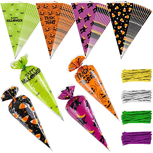 AnyDesign Halloween Cone Bag 160Pcs Cello Bags with 200Pcs Twist Ties 4 Design Candy Treat Bags Pumpkin Spider Web Witch Trick or Treat Sweet Cellophane Bag Gift Bags for Halloween Party Favor