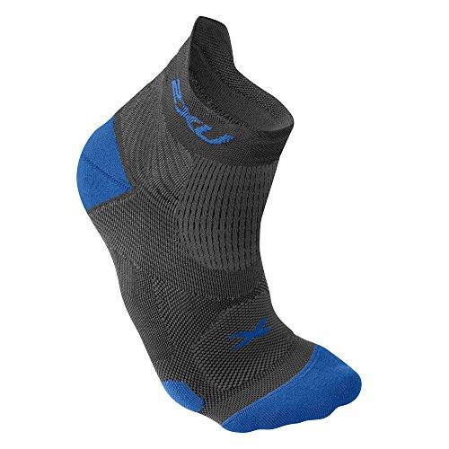 2XU Herren Race VECTR Socken, Herren, Dunkeltitan / Hellblau, Medium