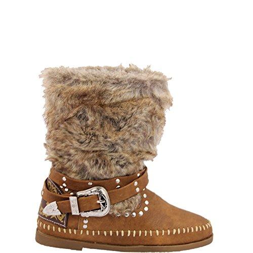 Unbekannt Hippie Stiefelette mit schönem Kunstfell Boot Damenschuh V1231 (38, Camel)