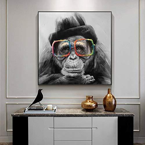 Nativeemie Monkey Smoking a Cigar Graffiti Art Canvas Pinturas en la Pared Art Posters e Impresiones Black Monkey Art Habitación de los niños Decoración para el hogar 90x90cm / 35.4