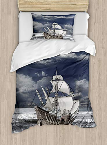 ABAKUHAUS Landschaft Funda Nórdica, Caribe Nave de Piratas, Decorativo, 2 Piezas con 1 Funda de Almohada, 130 cm x 200 cm, Azul Gris Gris pálido
