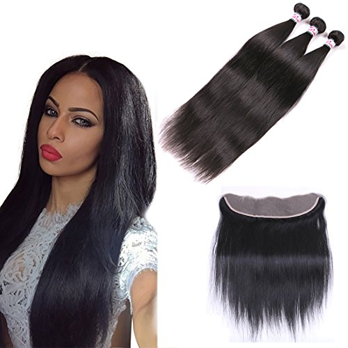 Silkylong Lace Frontal 13 * 4 Brésilien Hair Tissage Straight Hair Ear To Ear Free Part And 3 Bundles Tissage Nature 12 14 16+10frontal