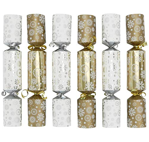 Iconikal 12-inch Christmas No-Snap Party Gift Table Favor, Gold and Silver Snowflakes, 6-Pack