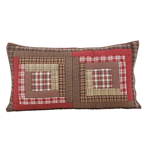 VHC Brands Rustic Tacoma Cotton Hand Quilted Patchwork King Bedding Accessory, Sham 21x37, Red