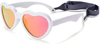 Baby's First Sunglasses with Strap, Unbreakable Polarized Newborn Infant Heart Sunglasses for Ages 0-12 Months