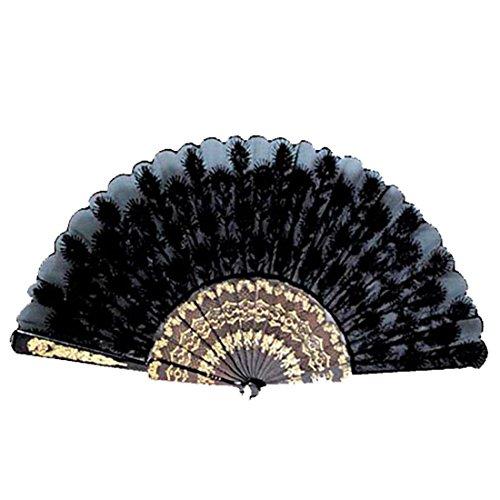 NET TOYS Éventail Espagnol Noir éventail à Main éventail Main éventail pour Carnaval éventail pour déguisement Costume Accessoire