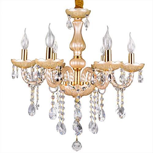 Kristalllüster Kerze Pendelleuchte Kristall Glas Kronleuchter Esszimmer Hängelampe Schlafzimmer Lampe 6 Lichter