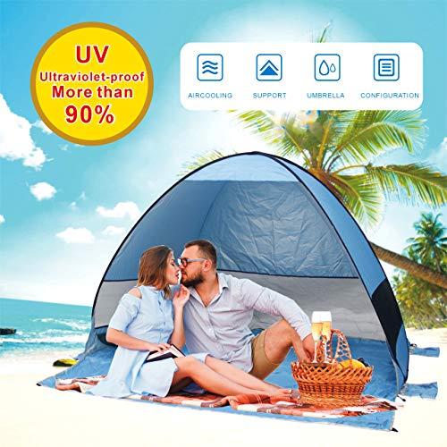 Tente de plage super Bluecoast Parapluie de plage extérieur Cabana automatique Pop Up UPF 50+ Pare-soleil portable Camping pêche randonnée Canopy