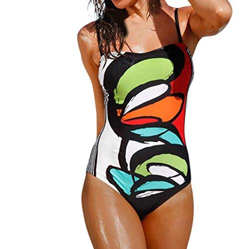 SHOBDW Mujer de una Pieza de Traje de baño Push-up Bra de impresión baño bañador Traje (Multicolor-2, L)