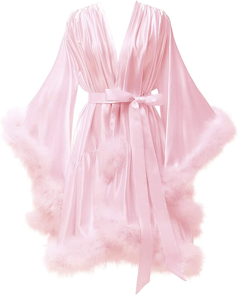 Yexinbridal Feather Fur Robe Silk Satin Bridal Dressing Gown Sexy Illusion Lingerie Nightgown Bathrobe Sleepwear