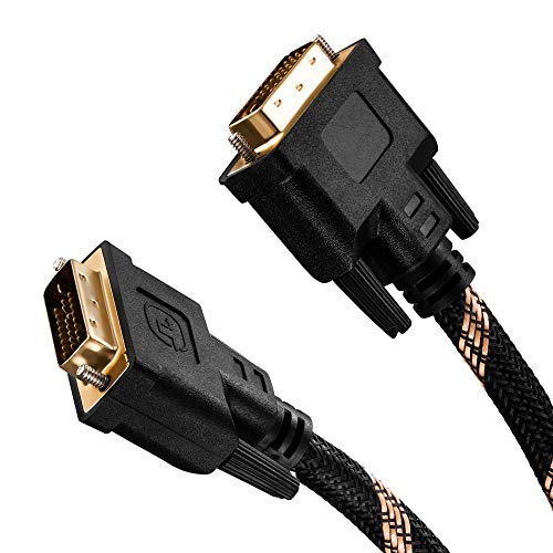 Dvi to Dvi Cable 40Ft,Nylon Braided DVI-D 24+1 Dual Link Male to Male Digital Video Cable Gold Plated with Ferrite Core Support 2560x1600 for Gaming, DVD, Laptop, HDTV and Projector (40 Ft/12M)