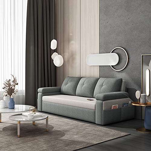 SND-A Sectional Sofa Couch Futon Sleeper Pull Out Sofa Bed with Storage Side Pocket,Large Storage Box And USB Charging Function,Convertible Sofa for Apartment Living Room,light gray,2.18M