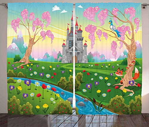 Cartoon Curtains, Fairy Tale Castle Scenery in Floral Garden Princess Kids Girls Fantasy Picture, Thermal Insulated Curtains with Print Pattern, Window Curtains for Bedroom Living Room, 2 Panels
