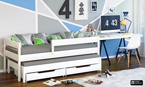 Jula Einzelbett für Kinder mit Ausziehbett mit 2 Matratzen und Schubladen 160x80/150x70 weiß