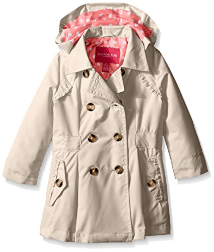 LONDON FOG Girls' Little Lightweight Trench Dress Coat Jacket, Khaki, 5/6