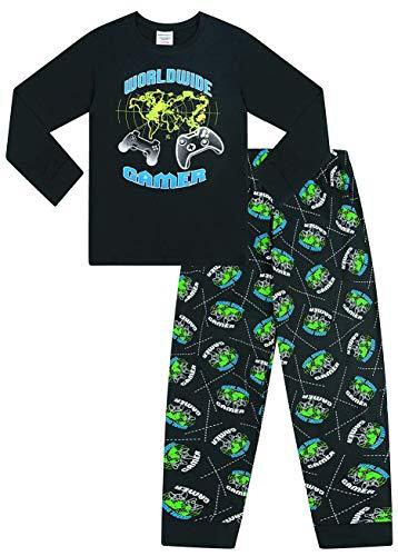 The Pyjama Factory World Wide Gamer Gaming All Over Gaming - Pijama largo de algodón, color negro y verde Negro Negro ( 11-12 Años