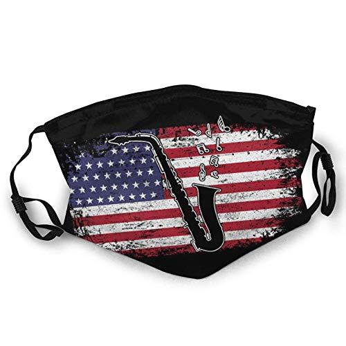 Saxophon Amerikanische Flagge Patriot Graphic USA Wiederverwendbarer Gesichtsschutz Benutzerdefinierter Schutz Kinder Bandana Warmer Schal Schwarz
