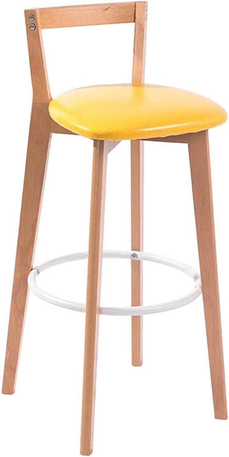 Dall Bar Chair Solid Wood High Stool Kitchen Breakfast Stool Lounge Chair PU Cushion Sitting Height 71cm (color   Yellow, Size   Wood color)