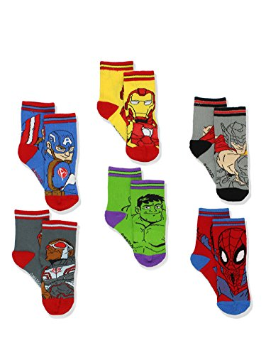 Avengers Boys 6 pack Athletic Crew Socks (2T-3T, Multi)