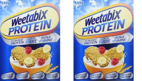 Weetabix Protein Original Eiweiß-Power Frühstückscerealien 2 x 440 g - Vollkornfrühstück aus Großbritannien