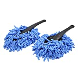 uxcell 2pcs Blue Microfiber Automobile Car Wax Brush Mop Dirt Duster Cleaning Tool