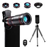 Crenova Handy Objektiv Kamera Linse Kit 22x Zoom Teleobjektiv, 235° Fischaugen objektiv, 25 Makro...