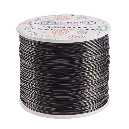 BENECREAT 18 Gauge (1mm) Aluminiumdraht 492FT (150m) Anodized Jewelry Craft Making Perlen Floral Colored Aluminium Craft Wire - Schwarz