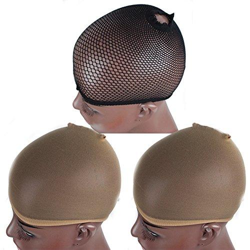 Zanawigs Lace Wig Caps pour femmes Neutre Nu Beige et noir Mesh 3 Pack Caps