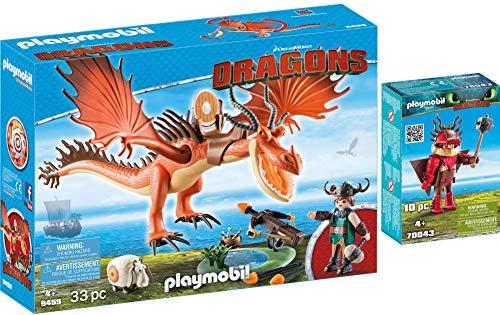 PLAYMOBIL® Dragons 2er Set 9459 70043 Rotzbakke und Hakenzahn + Rotzbakke mit Fluganzug