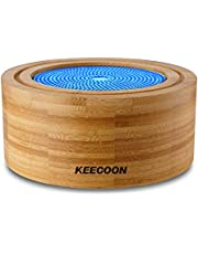 KEECOON 加湿器 卓上 車載 超音波 アロマディフューザー 竹製 エコ 呼吸モード ヨガ ナイトライト 寝る 手入れ簡単 タイマー機能 空焚き防止 リラックス おしゃれ ユニーク