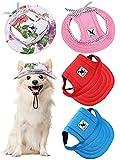 4 Gorras de Béisbol de Mascotas Gorra de Princesa Redonda con Ala Atuendo de Protección Solar de Deportes Exterior con Correa de Cuello Agujeros de Oídos Cómodo para Perros (Clásico, M)