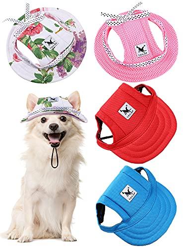4 Stücke Haustier Baseball Hut Runde Krempe Prinzessin Kappe Outdoor Sport Sonnenschutz Kleidung mit Halsriemen Verstellbare Bequeme Ohrlöcher für Hunde (Klassisch, S)